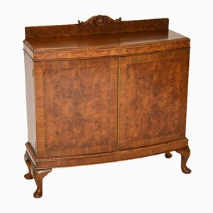 Antique Queen Anne Style Burl Walnut Cabinet, 1920s