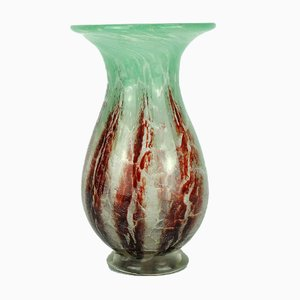 Art Deco Green and Dark Read Ikora Glass Vase by Karl Wiedmann for WMF, 1930s