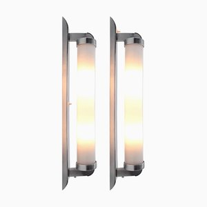 Large Bauhaus Tubular Sconces, 1930s, Set of 2