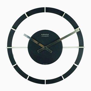 Horloge Murale Mid-Century Noire et Blanche Chrono en Quartz de Kienzle International, 1970s