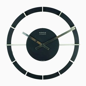 Mid-Century Black and White Chrono Quartz Wall Clock from Kienzle International, 1970s