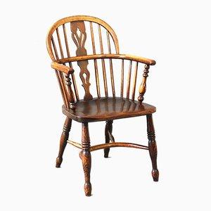 Chaises de Salon Windsor à Dossier Bas en Frêne et Orme du 19ème Siècle, Set de 4