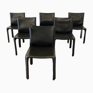 Braune Vintage Modell 412 Esszimmerstühle aus weißem Leder von Mario Bellini für Cassina, 1990er, 6er Set