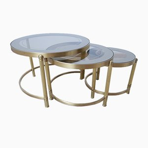 French Brass Round Nesting Tables, 1970s