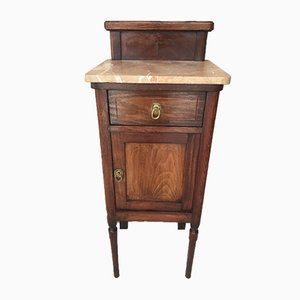 Art Nouveau Walnut and Marble Top Nightstand