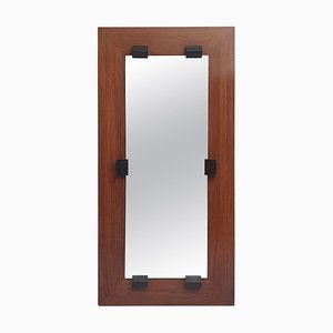 Italian Mahogany Rectangular Mirror by Franco Campo, 1960s