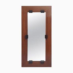 Italian Mahogany Rectangular Mirror by Franco Campo, 1960s