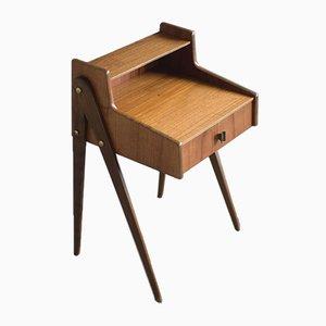 Tables de Chevet Mid-Century Moderne en Teck avec Tiroir, Suède, 1950s, Set de 2
