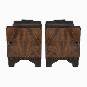 Art Deco Ebonized Base Nightstands, 1930s, Set of 2