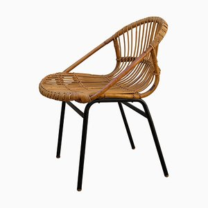 Mid-Century Rattan Lounge Chair by Alan Fuch for ULUV, 1960s