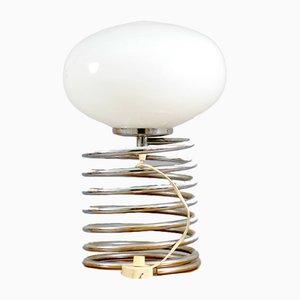 Tischlampe aus Chrom mit ovalem Schirm aus Opalglas, 1960er