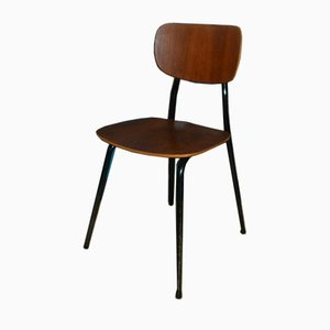 Mid-Century Walnut and Metal Side Chair, 1950s
