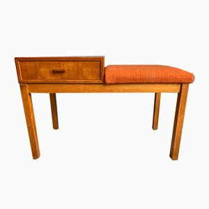 Scandinavian Teak Side Table with Chair and Drawer, 1960s