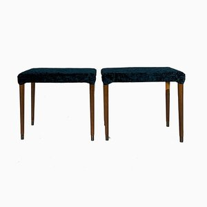 Mid-Century Danish Solid Mahogany Stools, Set of 2