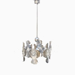 Mid-Century Italian Chrome and Glass Lends Chandelier by Gaetano Sciolari for Sciolari, 1966