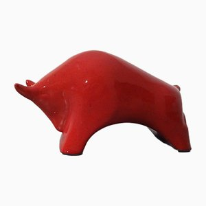 Glazed Ceramic Bull, 1970s