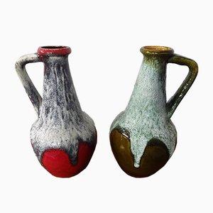Fat Lava Ceramic Vases from Bay Keramik, 1970s, Set of 2