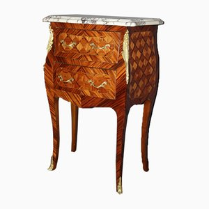 Louis XV Style Rosewood Marquetry Nightstands, 1940s, Set of 2