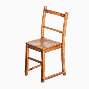 Elm Chapel or Church Stacking Dining Chairs, 1920s, Set of 6