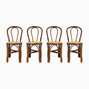 Bamboo Dining Chairs in the Style of Thonet, 1970s, Set of 4
