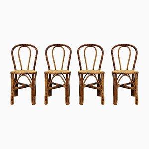 Bambus Esszimmerstühle im Stil von Thonet, 1970er, 4er Set