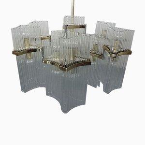 Large Italian Brass and Glass Chandelier by Gaetano Sciolari for Sciolari, 1960s