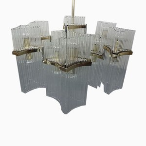 Large Italian Brass and Glass Chandelier by Gaetano Sciolari for Sciolari, 1960s