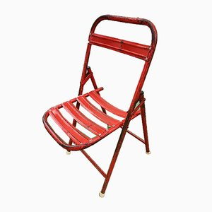 Vintage Industrial Red Folding Garden Chairs, 1970s, Set of 4