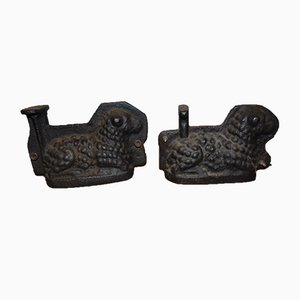 Antique Industrial Cast Iron Lamb Sculptures, Set of 2