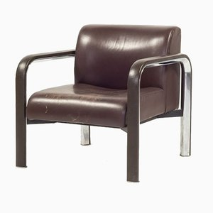 Vintage Italian Brown Leather Armchair