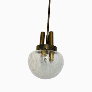 Brass & Glass Ceiling Lamps, 1950s, Set of 2