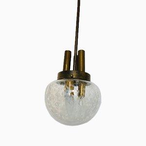 Lampade da soffitto in ottone e vetro, anni '50, set di 2