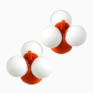 Orangefarbene Space Age Metall Deckenlampen von Kaiser Leuchten, 1960er, 2er Set