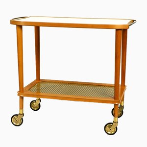 Mid-Century Modern Walnut & Brass Serving Trolley, 1950s