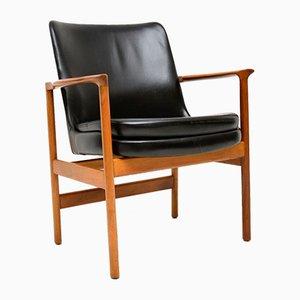 Armlehnstühle aus Leder & Walnuss von Ib Kofod Larsen für Froscher, 1960er, 2er Set