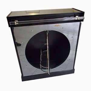 Black Lacquered Bar Table with Mirror Round Turntable Plexiglass Handle, 1930s
