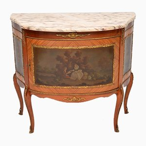 Vintage French Marble Top Painted Cabinet, 1930s