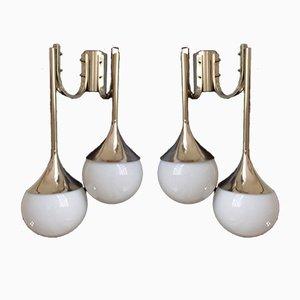Lampade da parete in metallo cromato e vetro opalino, anni '60, set di 2