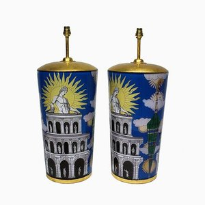 Vintage Table Lamps in the Style of Fornasetti, Set of 2