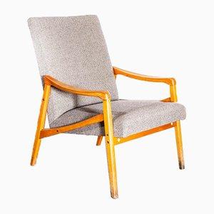 Grey Herringbone Wool Upholstery Armchairs, 1950s, Set of 2