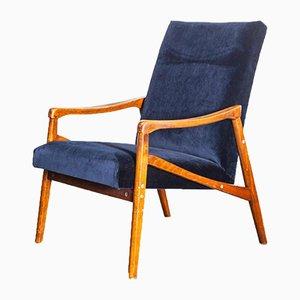 Blue Velvet Upholstery Armchairs, 1950s, Set of 2