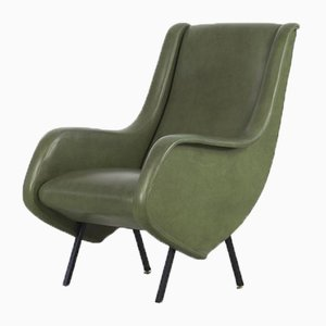 Mid-Century Italian Green Leatherette Armchairs, 1950s, Set of 2