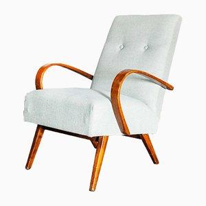 Light Blue Cotton Linen Upholstery Armchairs, 1950s, Set of 2
