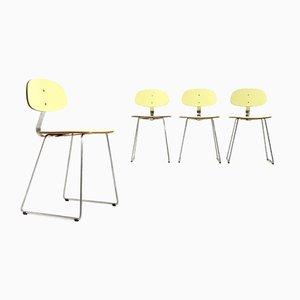 Yellow Formica Dining Chairs by Georges Coslin for 3V arredamenti, 1950s, Set of 4