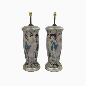 Vintage Hand Painted Table Lamps in the Style of Cranach, Set of 2