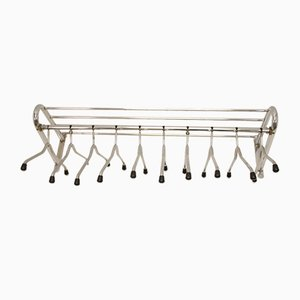 Large Chrome Wall Coat Rack with Separate Hangers, 1960s