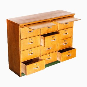 German Oak 12-Drawer Apothecary Cabinet, 1950s