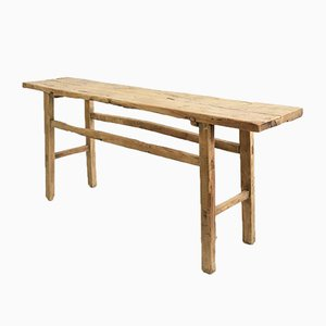 Antique Rustic Elm Console Table