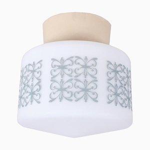 Lampada da soffitto grigia con stampa floreale, anni '60
