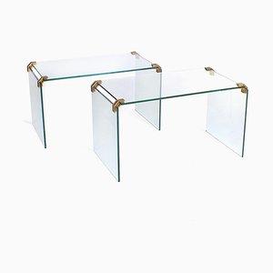 Tavolini in vetro in stile Gallotti & Radice, Italia, anni '70, set di 2